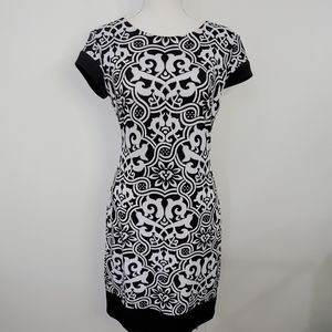 Cach'e black and white print dress size 8